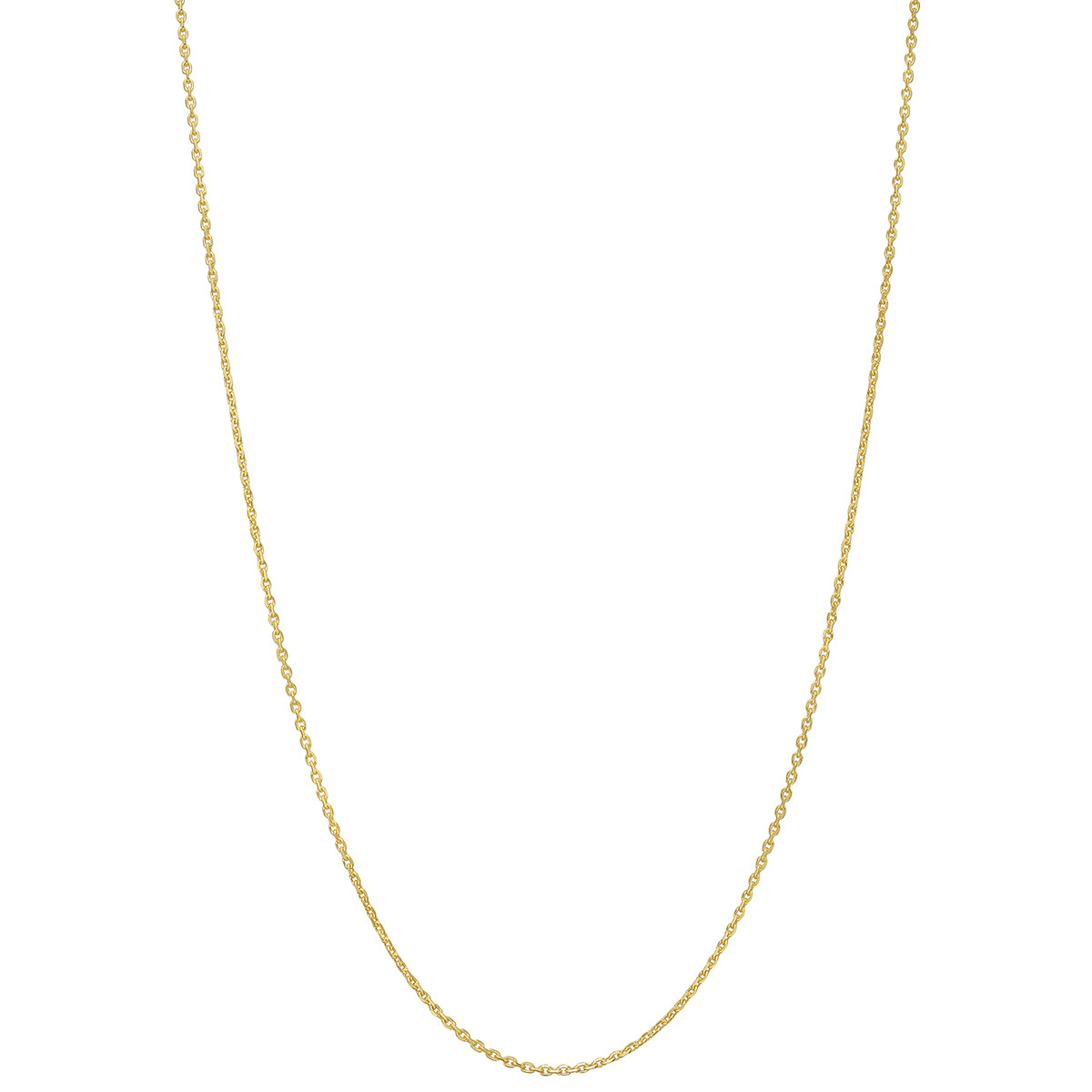 "18k Yellow Gold Thin Diamond-Cut Link Chain Necklace (16"")"