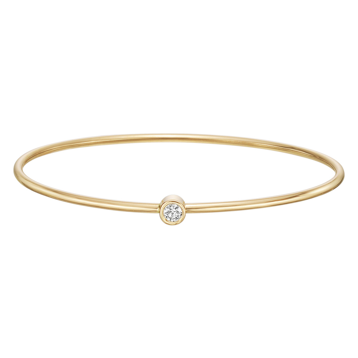 18k Yellow Gold Single Diamond Twist Bangle