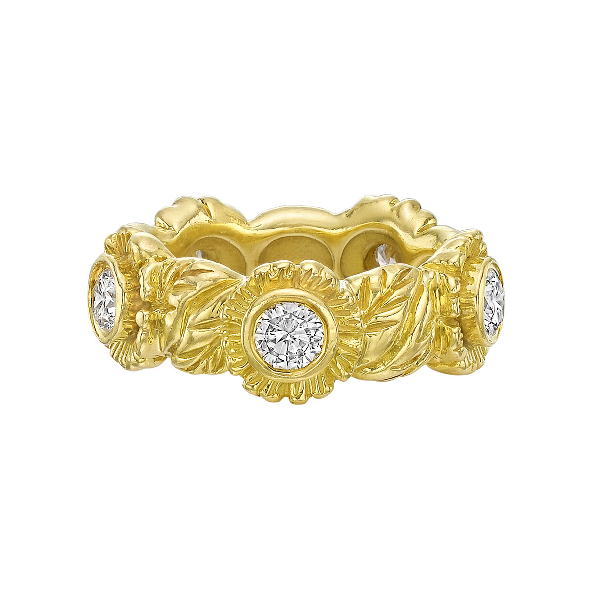 18k Yellow Gold & Diamond Floral Band Ring