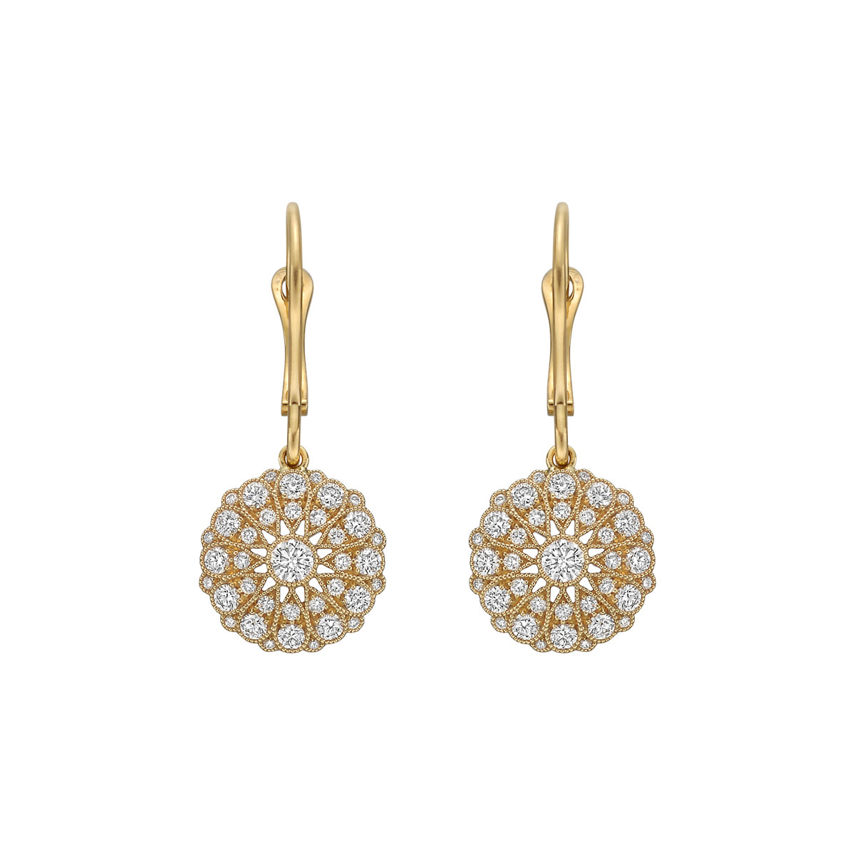 18k Yellow Gold & Diamond Cluster Drop Earrings