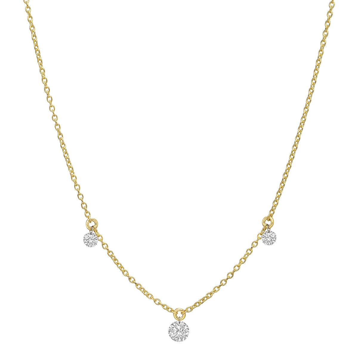 Three Diamond Fringe Chain Necklace
