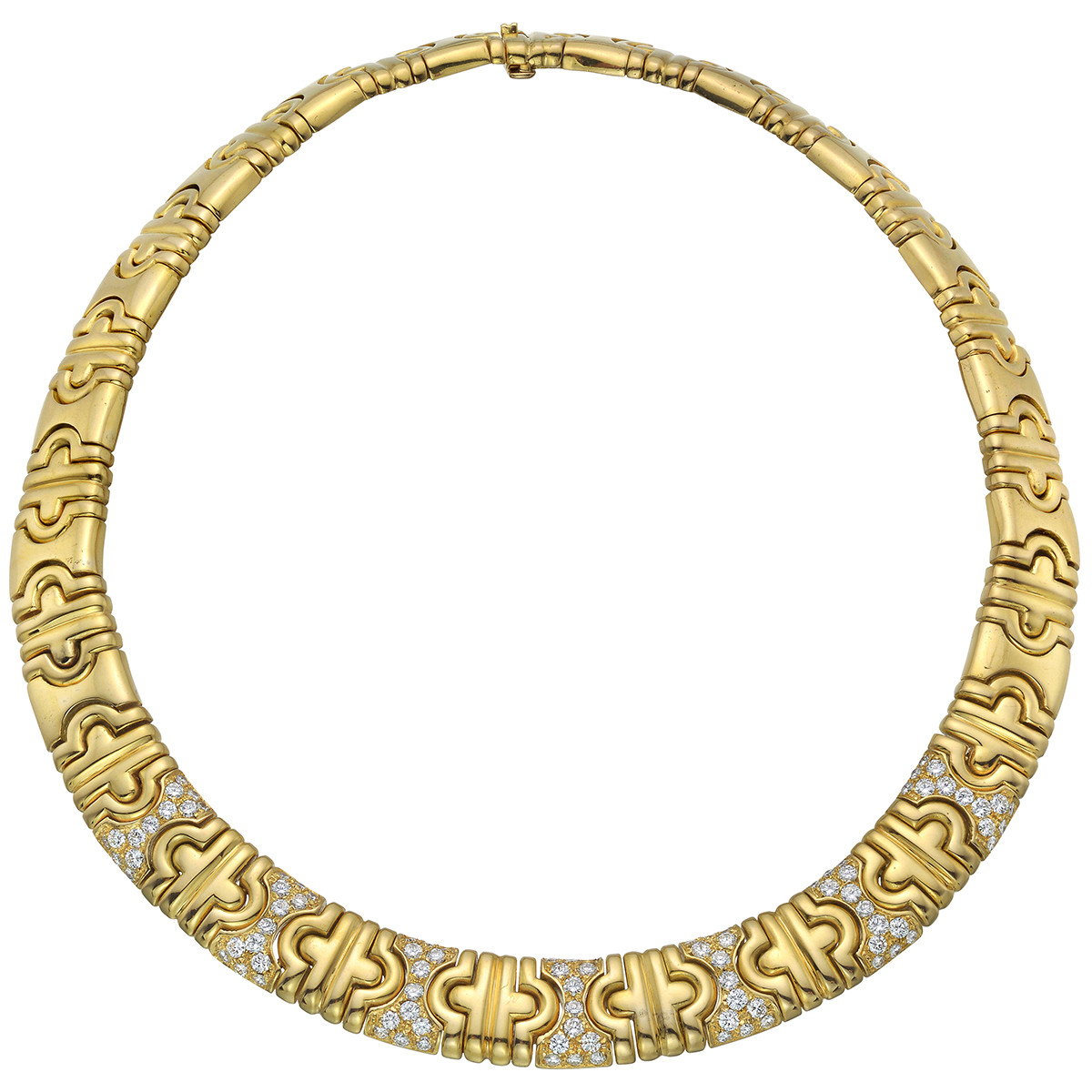 18k Yellow Gold & Diamond Geometric Link Necklace