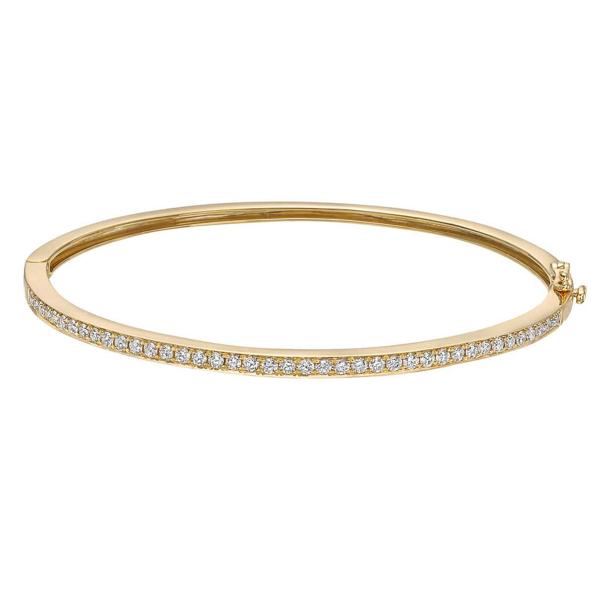 18k Yellow Gold & Diamond Hinged Bangle (0.8ct tw)