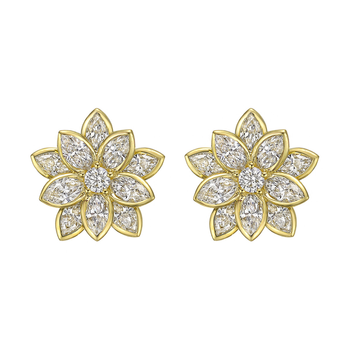 18k Yellow Gold & Diamond Lotus Flower Earrings
