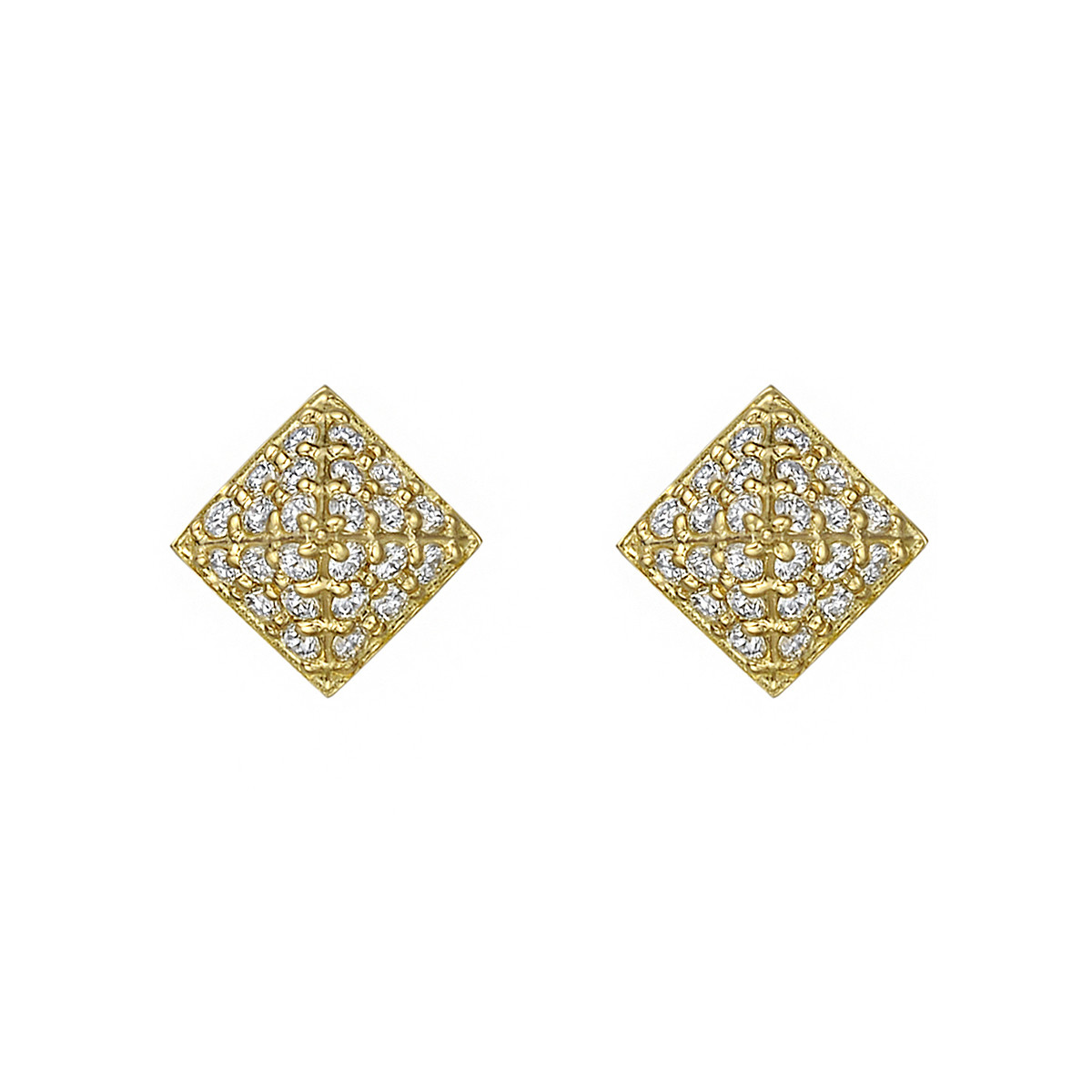 Small Pavé Diamond Pyramid Earstuds
