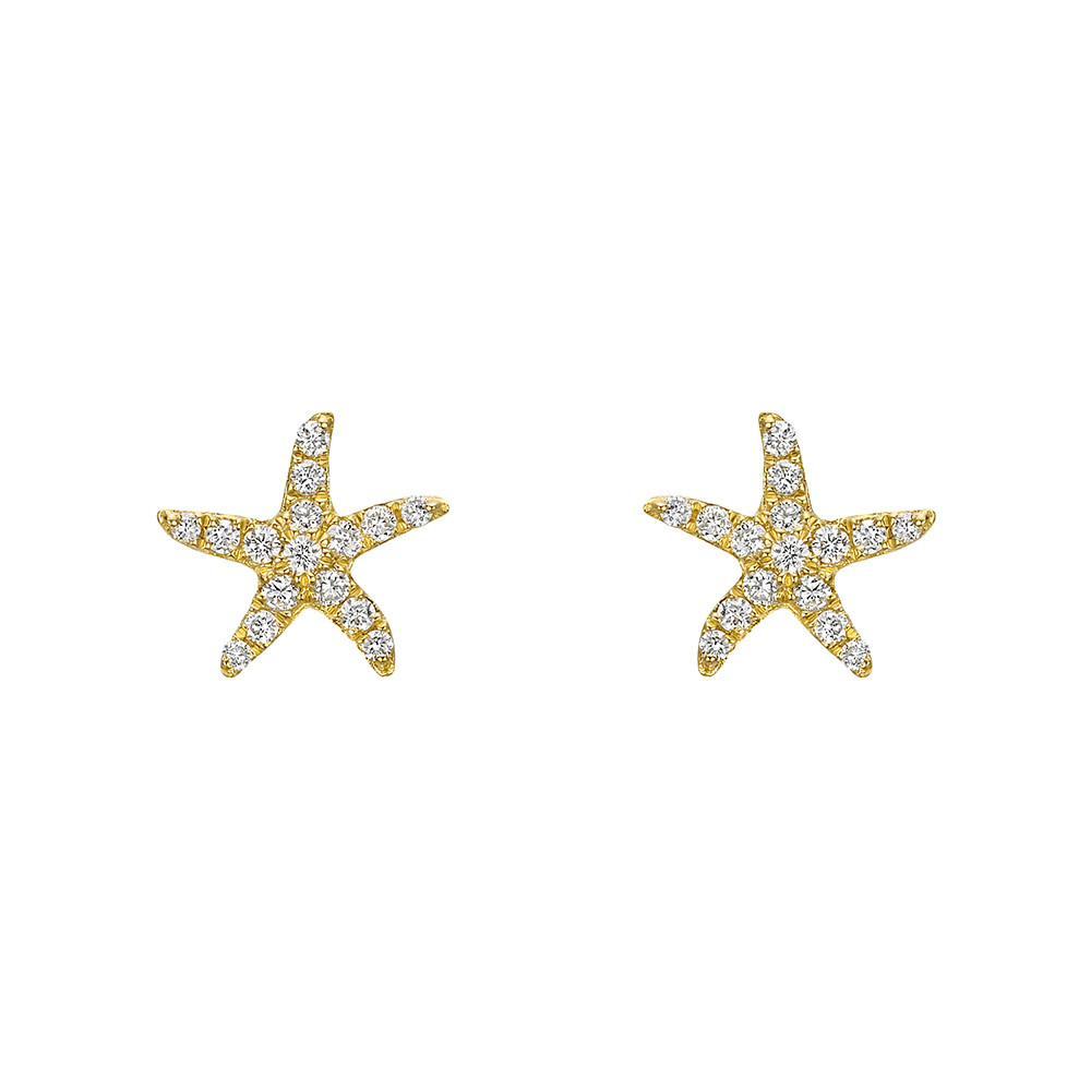 Small 18k Yellow Gold & Diamond Starfish Earstuds