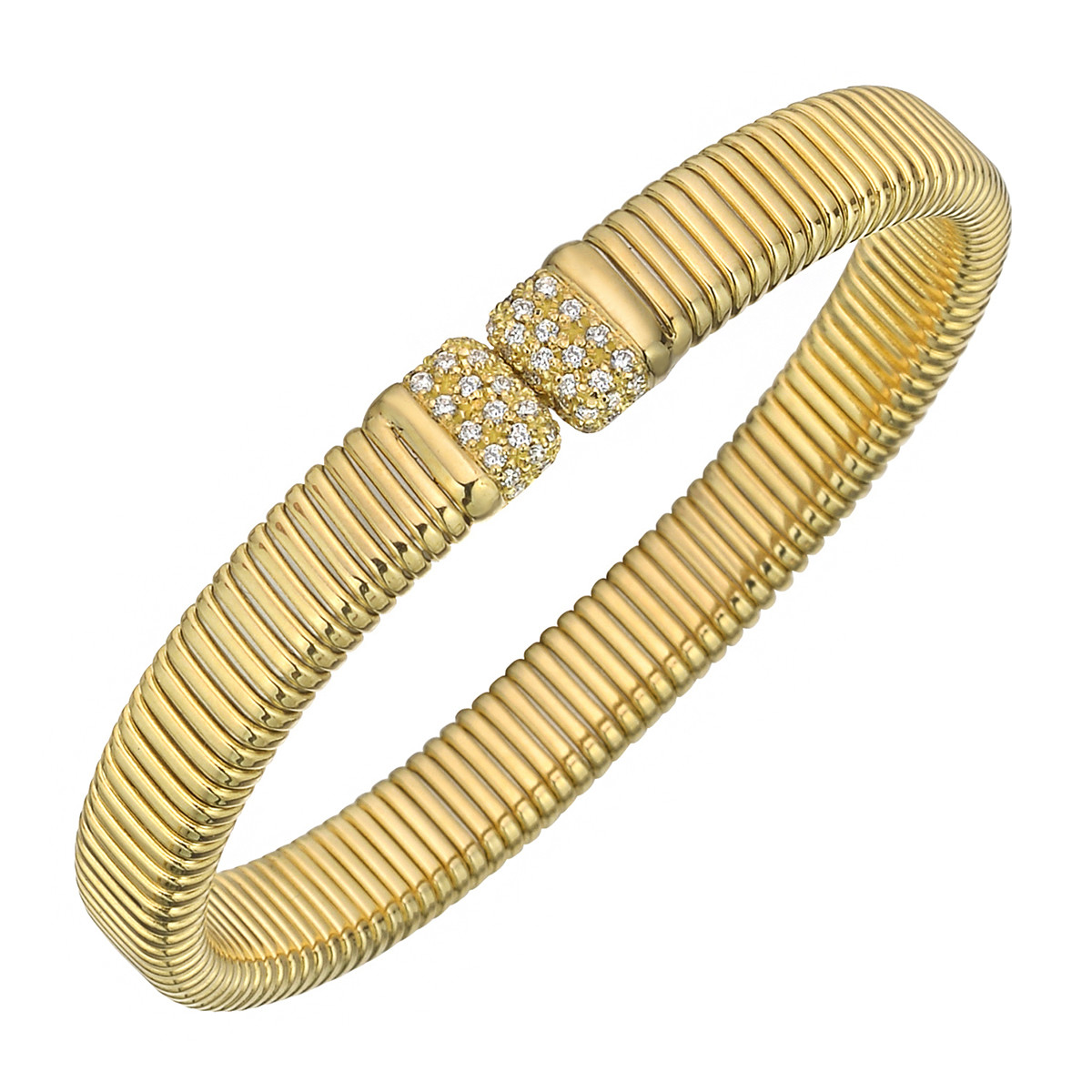 18k Yellow Gold & Diamond Tubogas Cuff