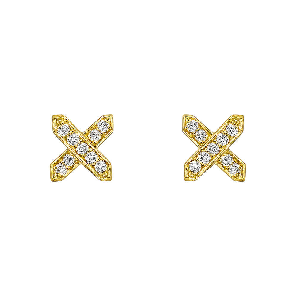 18k Yellow Gold & Diamond 'X' Earstuds