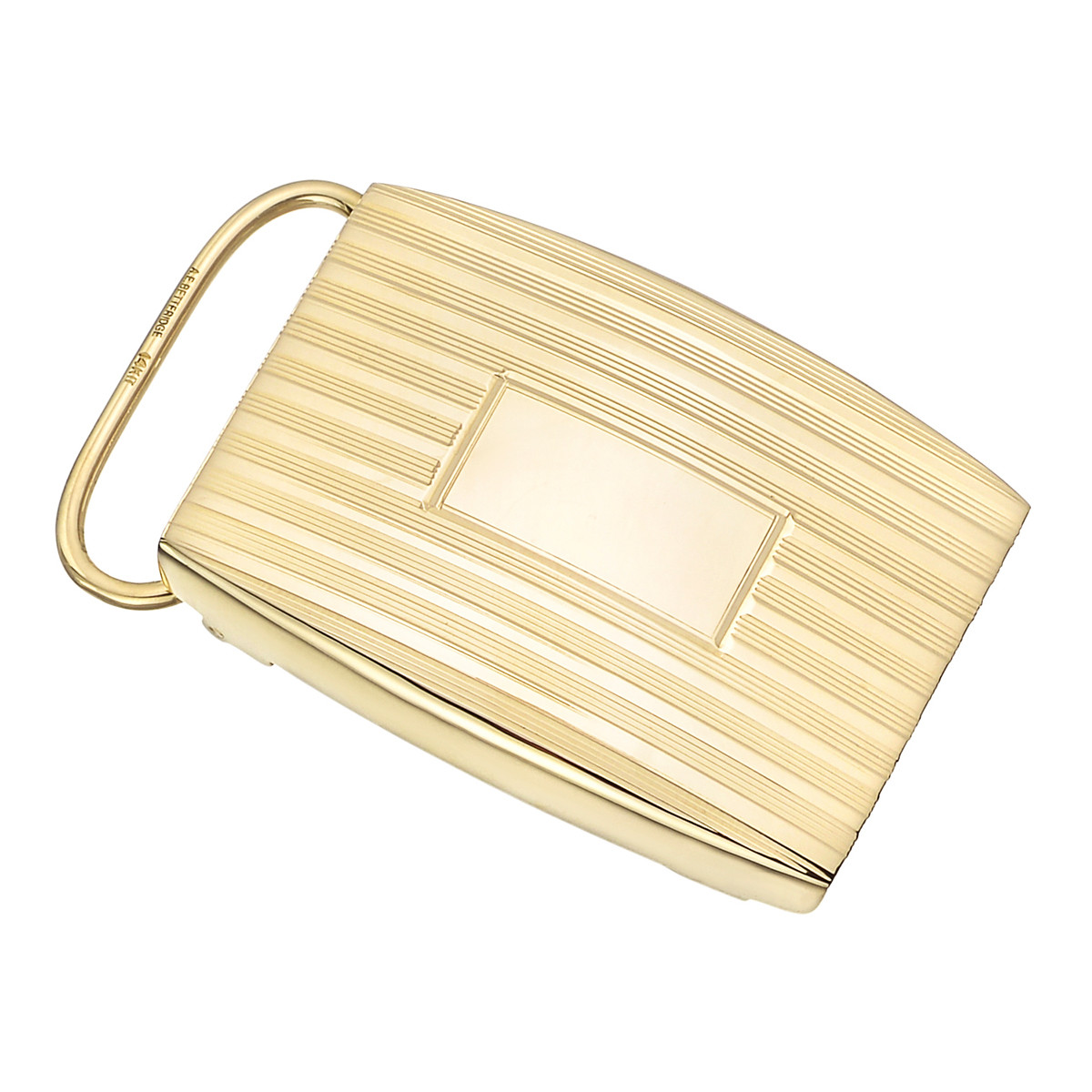 14k Yellow Gold Engine-Turned Belt Buckle