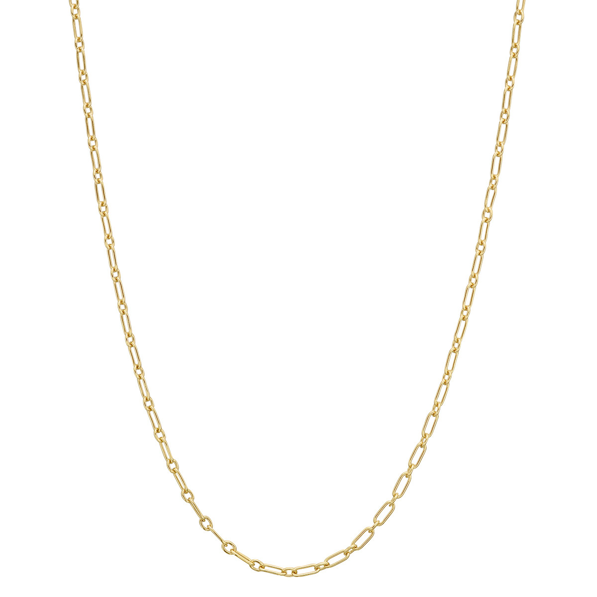 "14k Yellow Gold Flat Oval Link Chain Necklace (24"")"