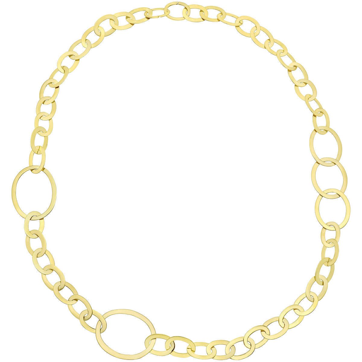 18k Yellow Gold Flat Oval Link Long Necklace