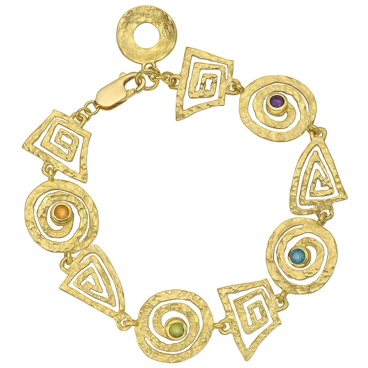 14k Gold & Gem-Set Geometric Link Bracelet