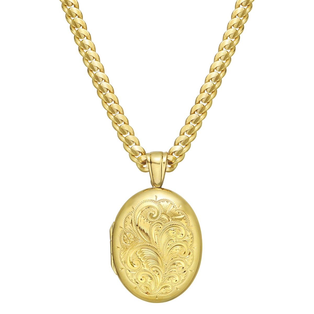 4ae1d6a22 Oval-shaped locket pendant in 18k yellow gold, the front engraved with an  elegant foliate scroll and back in polished gold, opening to reveal a place  for ...
