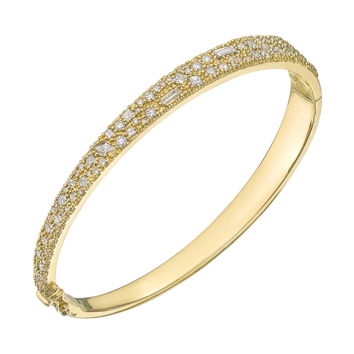 18k Yellow Gold & Mixed-Cut Diamond Bangle