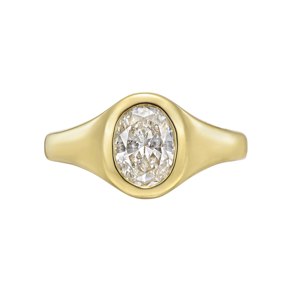 18k Yellow Gold & Oval Diamond Gypsy Ring