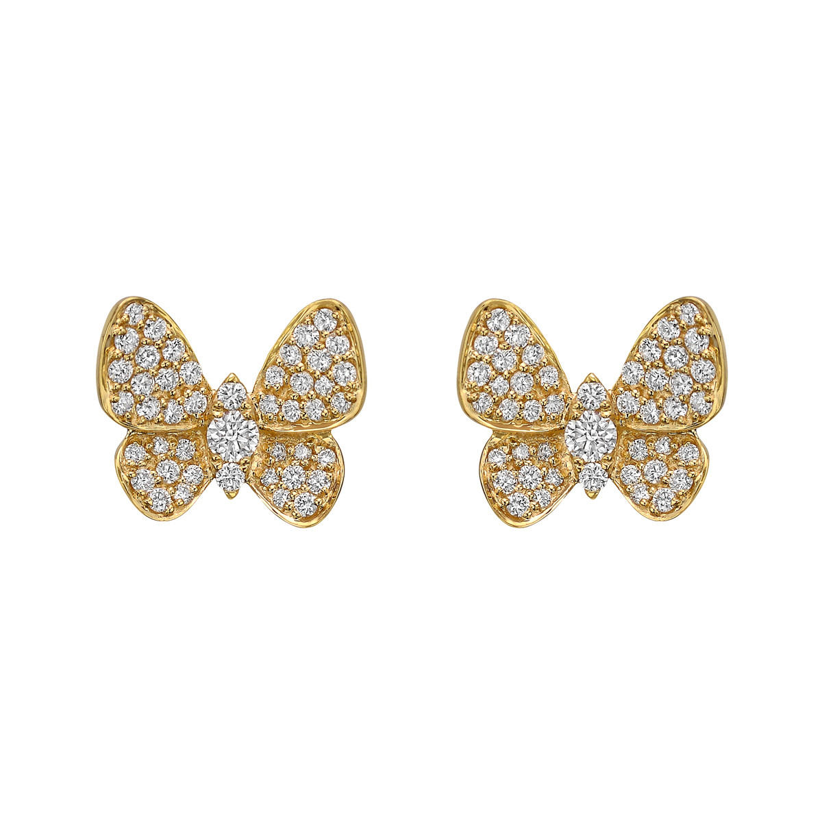 18k Yellow Gold & Diamond Butterfly Earstuds
