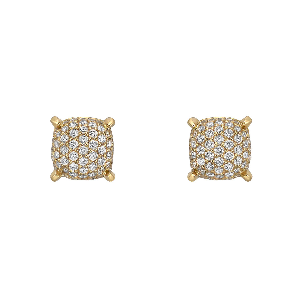 18k Yellow Gold & Pavé Diamond Cushion Earstuds