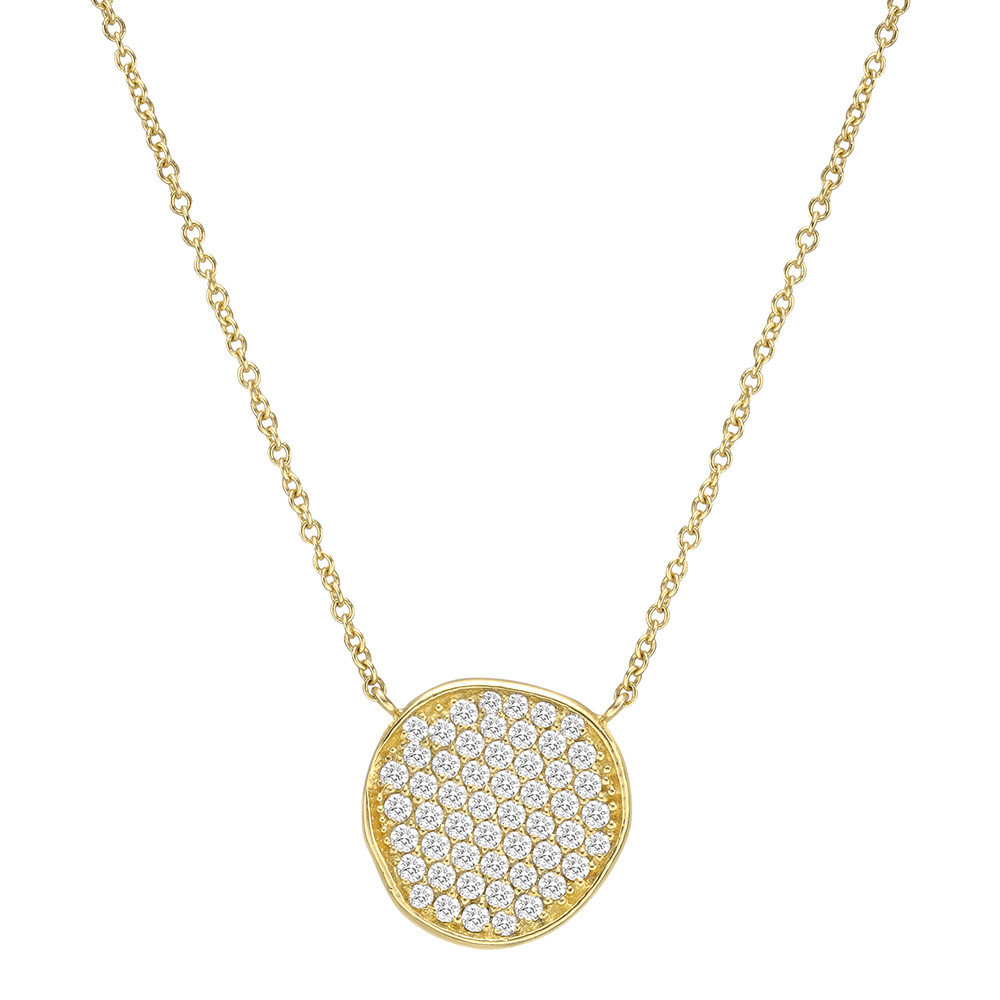 18k Yellow Gold & Diamond Disc Pendant