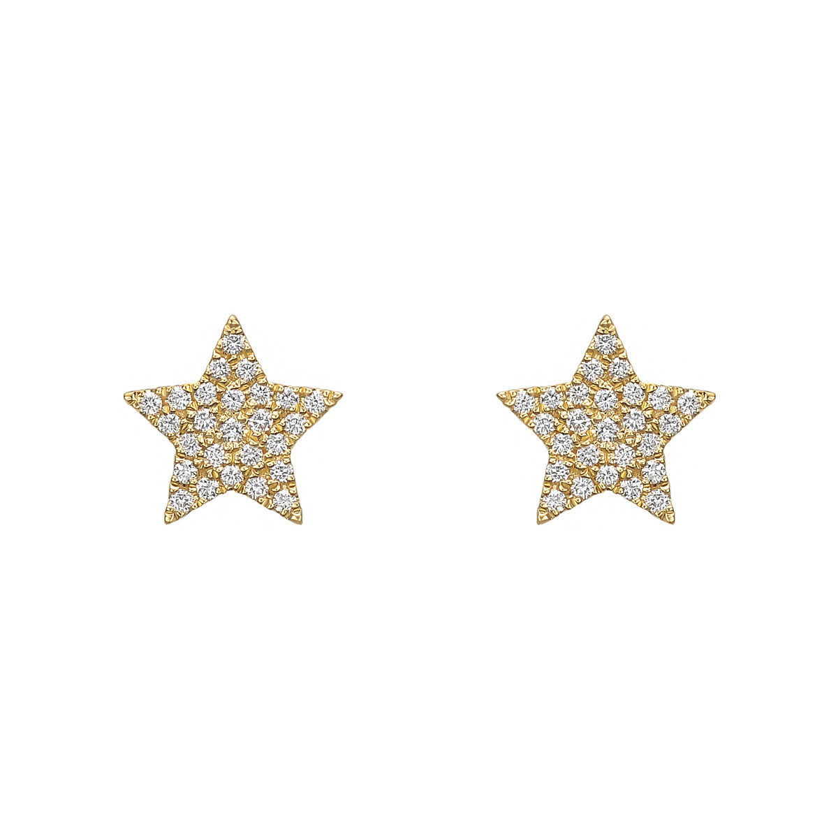 18k Yellow Gold & Pavé Diamond Star Earstuds