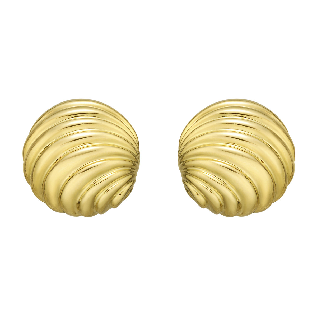 18k Yellow Gold Round Grooved Earrings