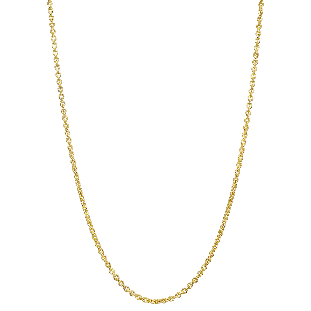 "18k Yellow Gold Round Link Chain Necklace (16"")"