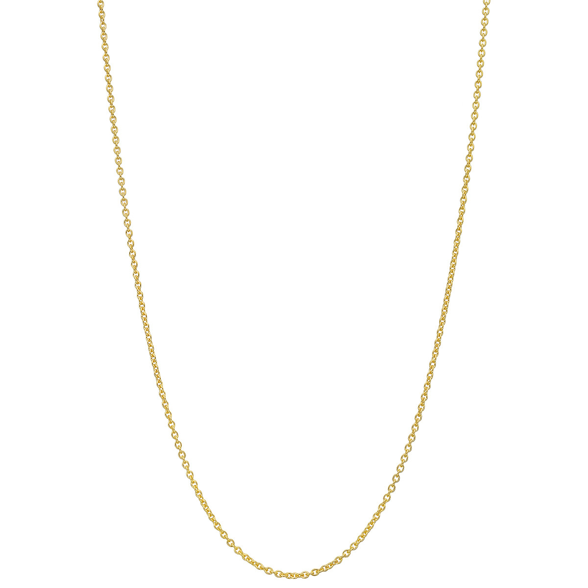 "18k Yellow Gold Thin Round Link Chain Necklace (24"")"