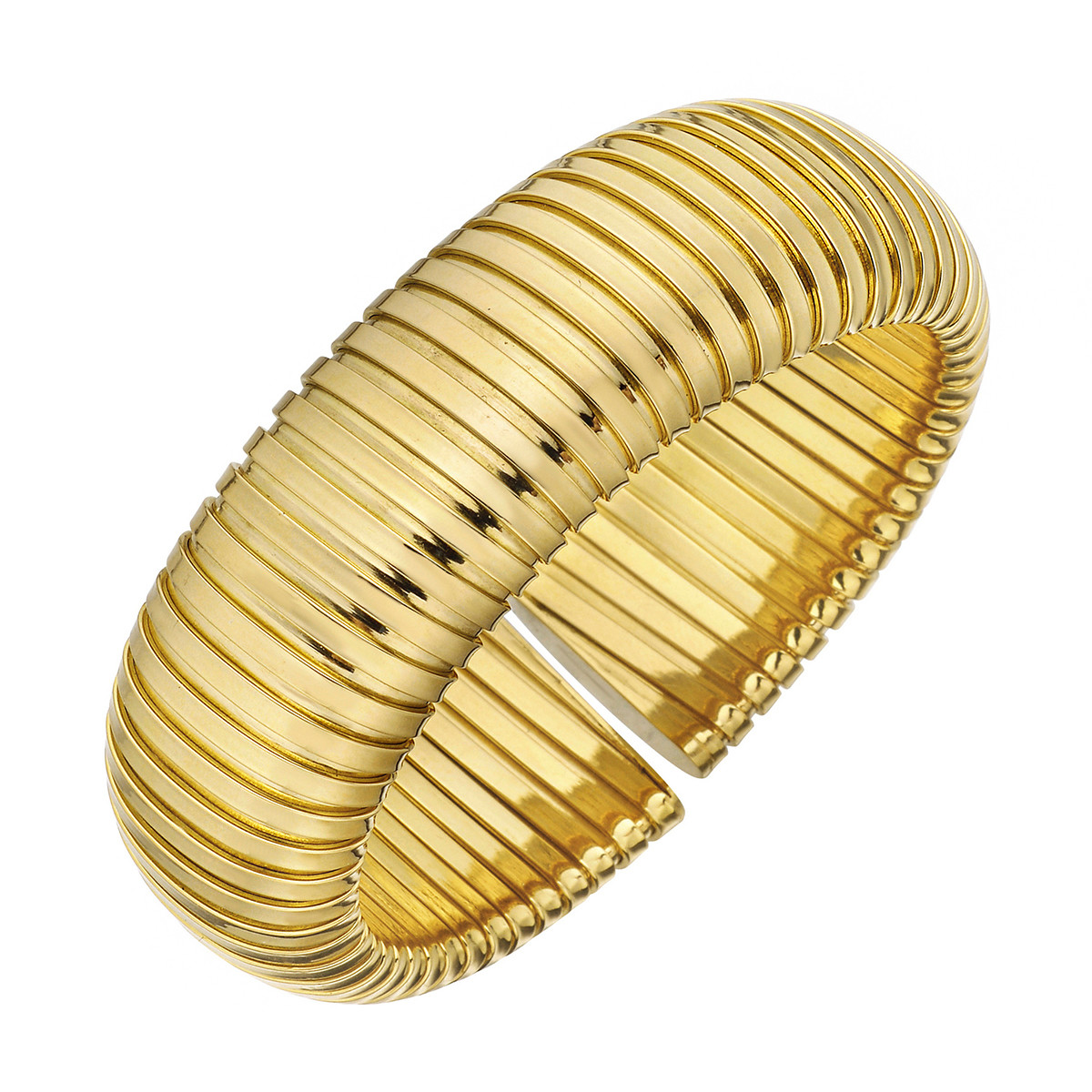18k Yellow Gold Tubogas Wide Cuff