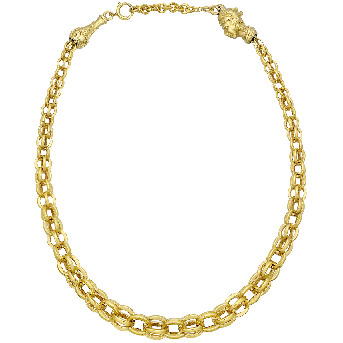 14k Yellow Gold Oval Cage Link Necklace