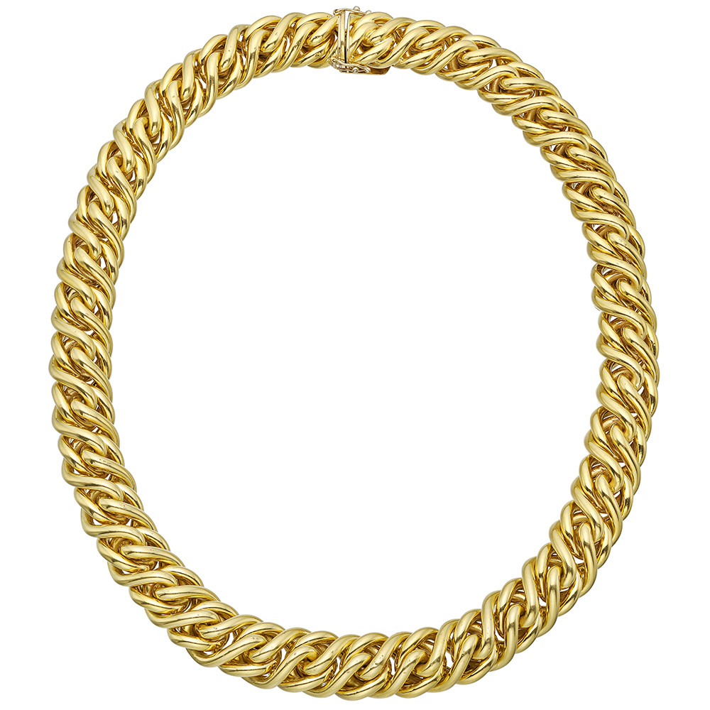 18k Yellow Gold Woven Chain Link Necklace