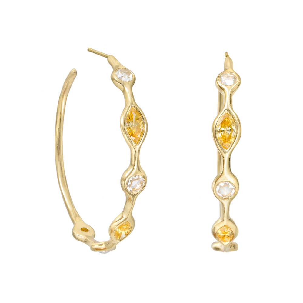 Mixed-Cut Yellow & White Diamond Hoop Earrings