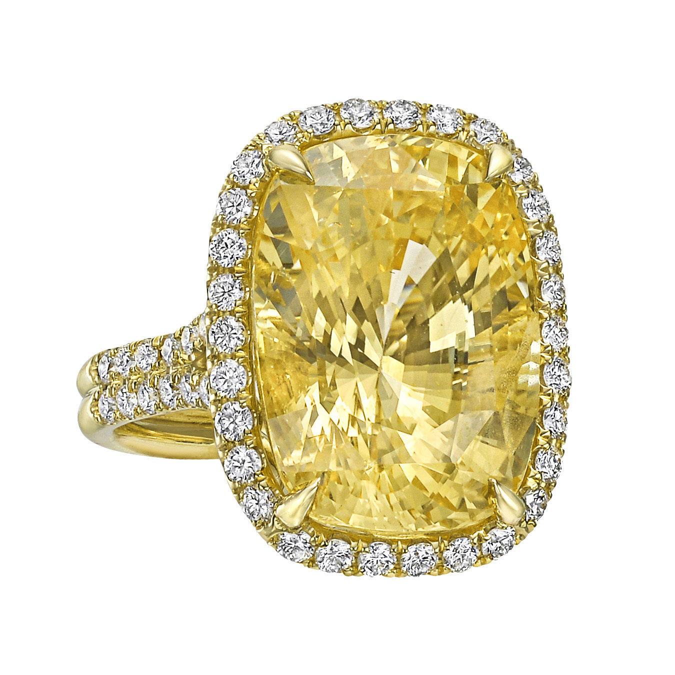 19.39ct Yellow Sapphire & Diamond Ring