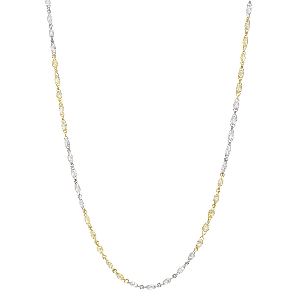 ​Briolette Yellow & White Diamond Chain Long Necklace (15.04 ct tw)