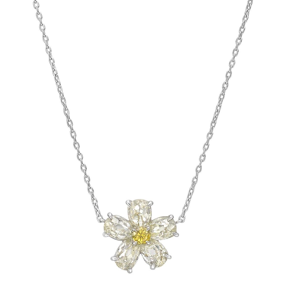 Small Yellow & White Diamond Flower Pendant