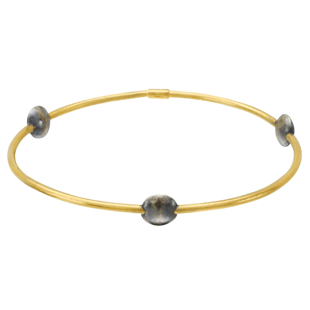 "24k Gold & Gilver Disc ""Jane"" Stack Bangle"