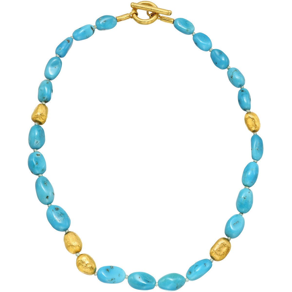 """24k Gold & Turquoise Bead """"Roxanne"""" Necklace"""