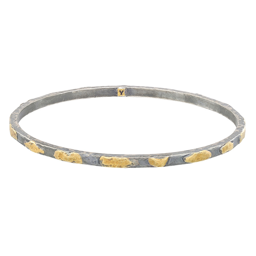 "Silver & 24k Gold ""Mica"" Stack Bangle"