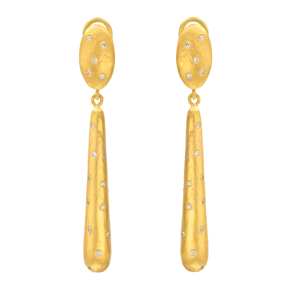 """Cone"" 24k Gold & Diamond Drop Earrings"