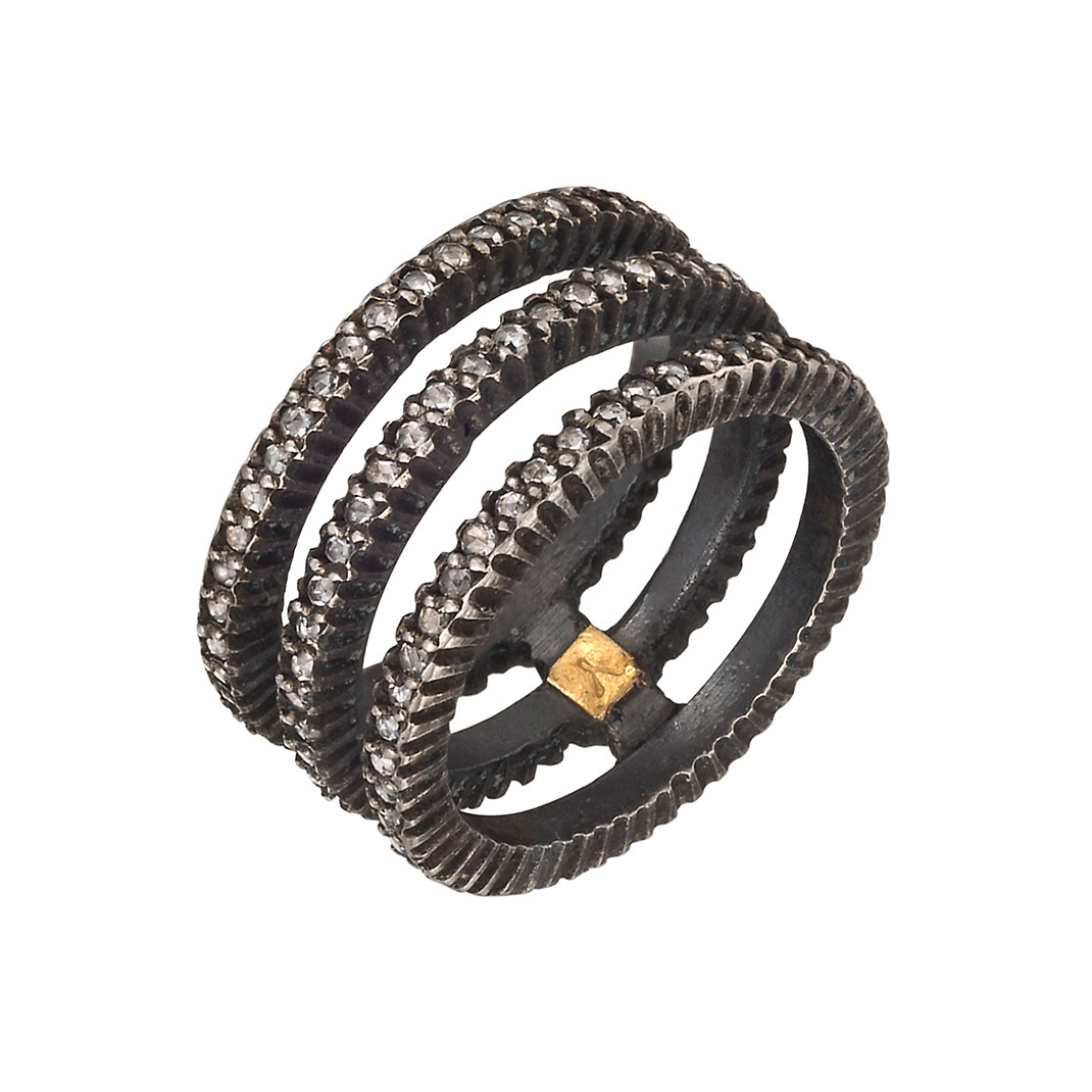 "Gilver & Diamond ""Lilah"" Triple Band Ring"