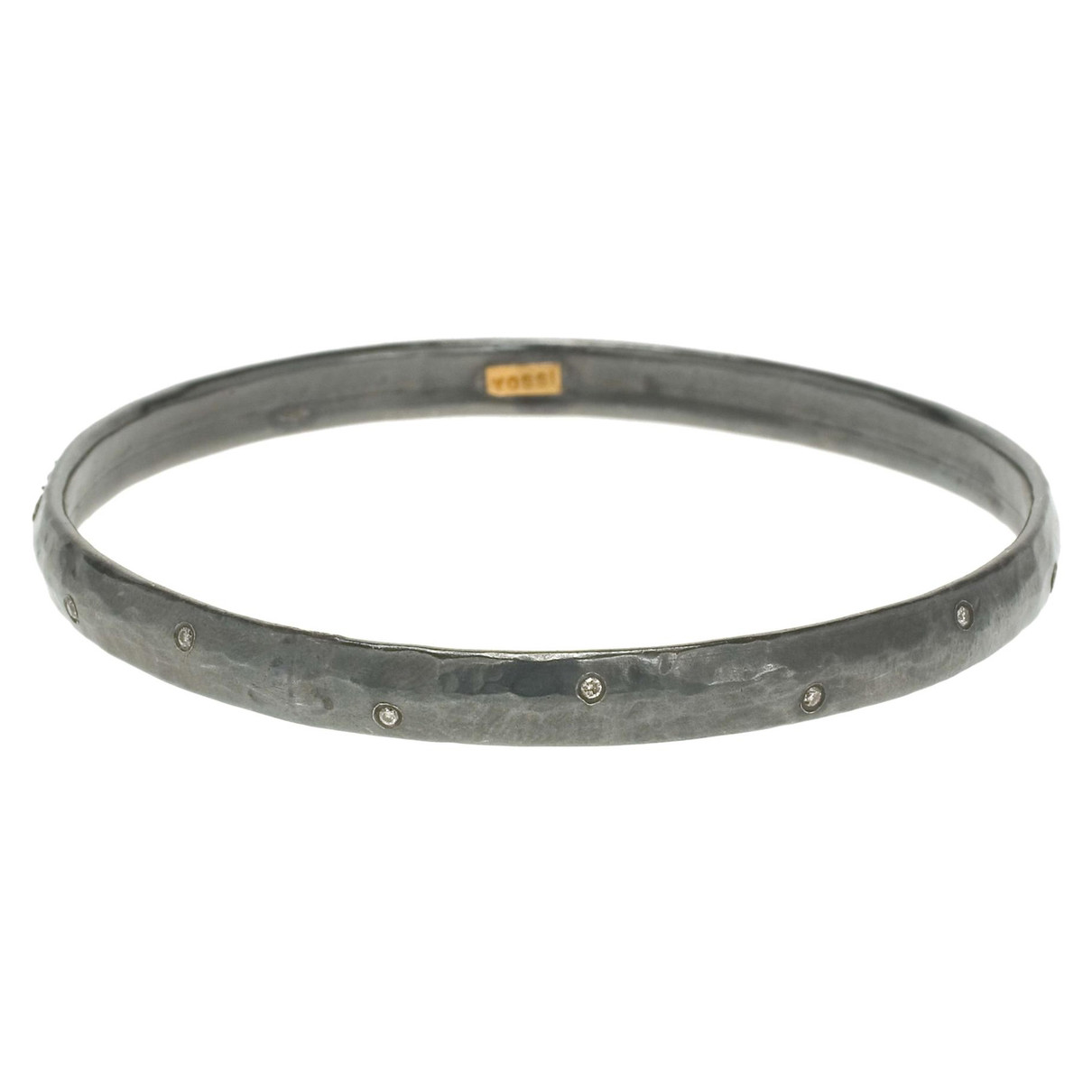 "Oxidized Gilver & Diamond ""Mica"" Bangle"