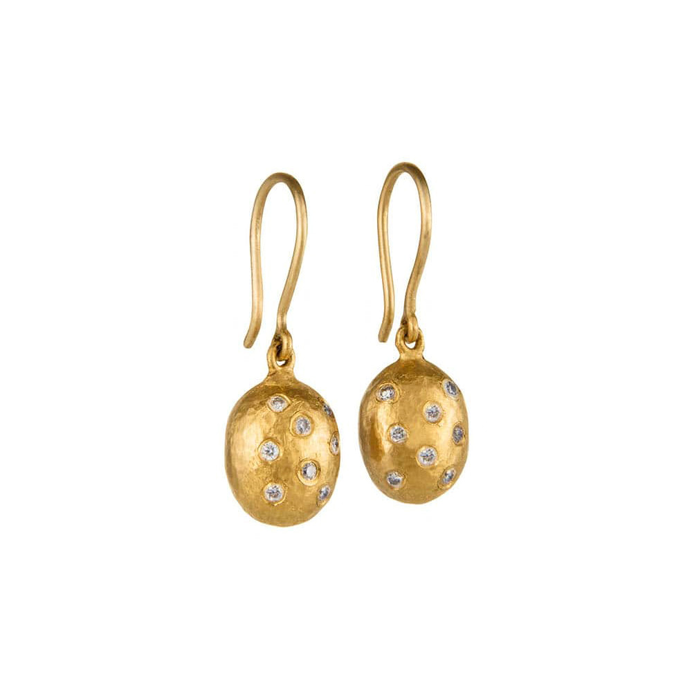 "Small 24k Yellow Gold & Diamond ""Helen"" Drop Earrings"