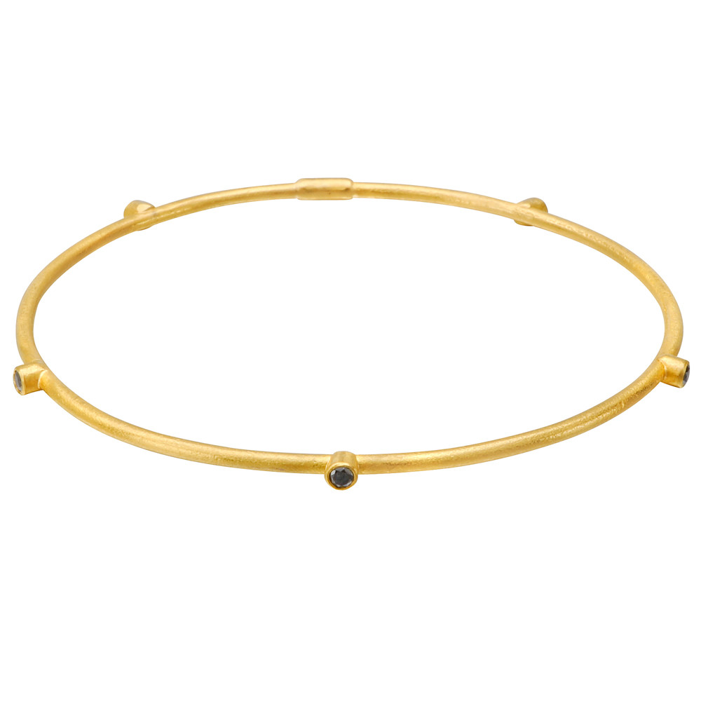 "24k Gold & Black Diamond ""Jane"" Stack Bangle"
