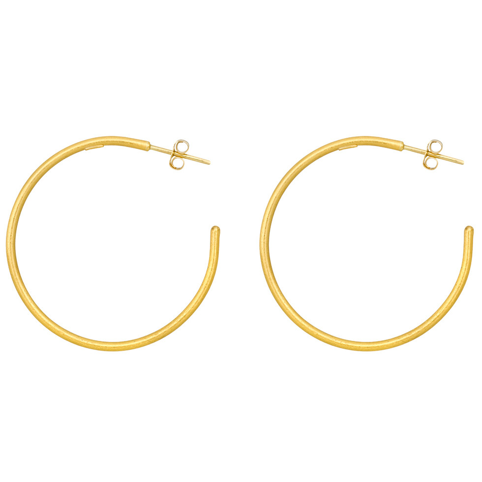 "Large 24k Yellow Gold ""Jane"" Hoop Earrings"