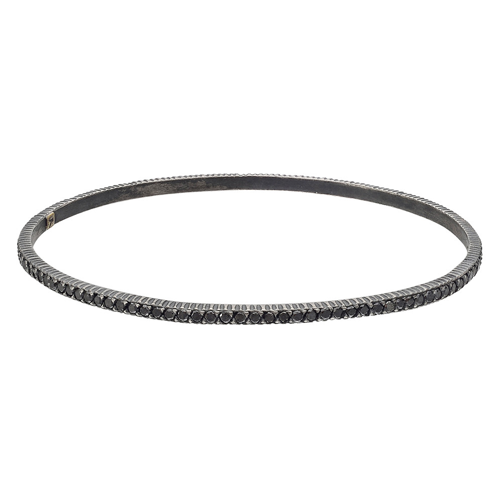 "Gilver & Black Diamond ""Lilah"" Stack Bangle"
