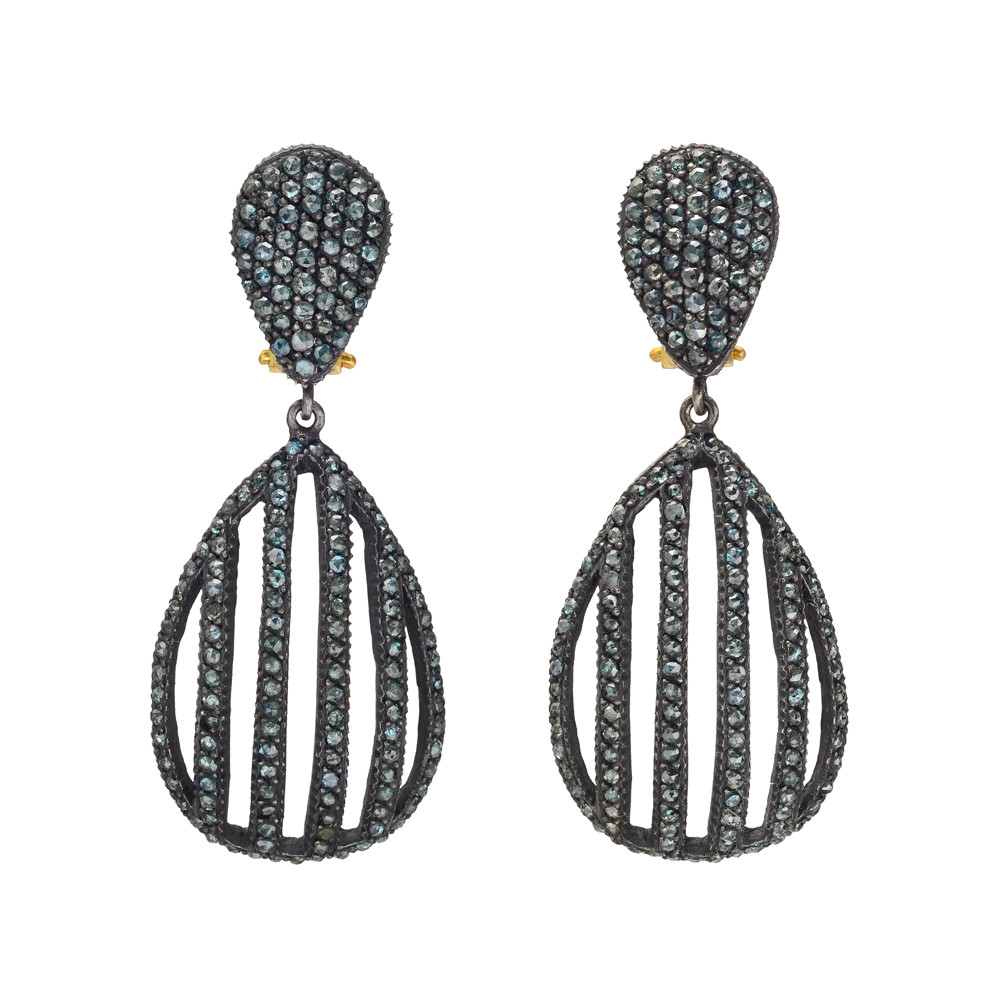 """Lilah Cage"" Oxidized Gilver & Blue Diamond Drop Earrings"