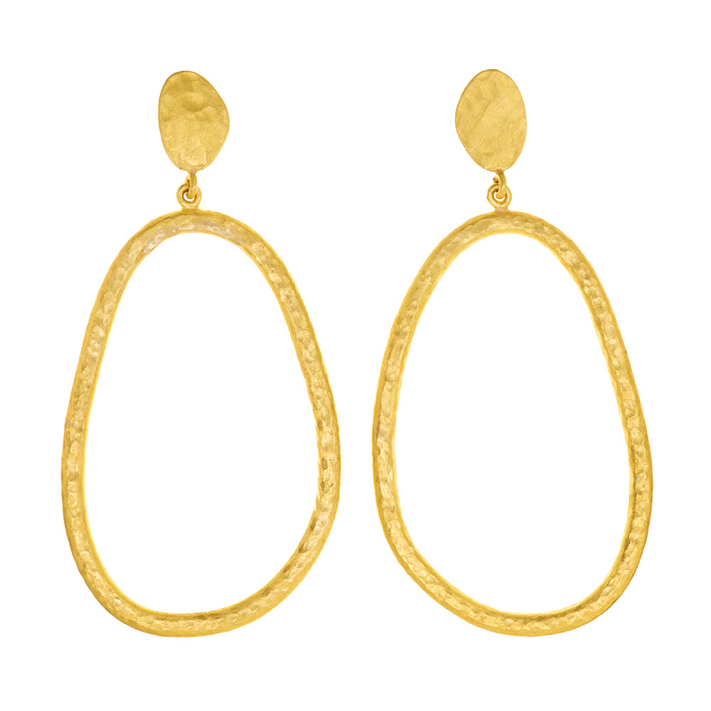 "Long 24k Gold ""Melissa"" Oval Drop Earrings"