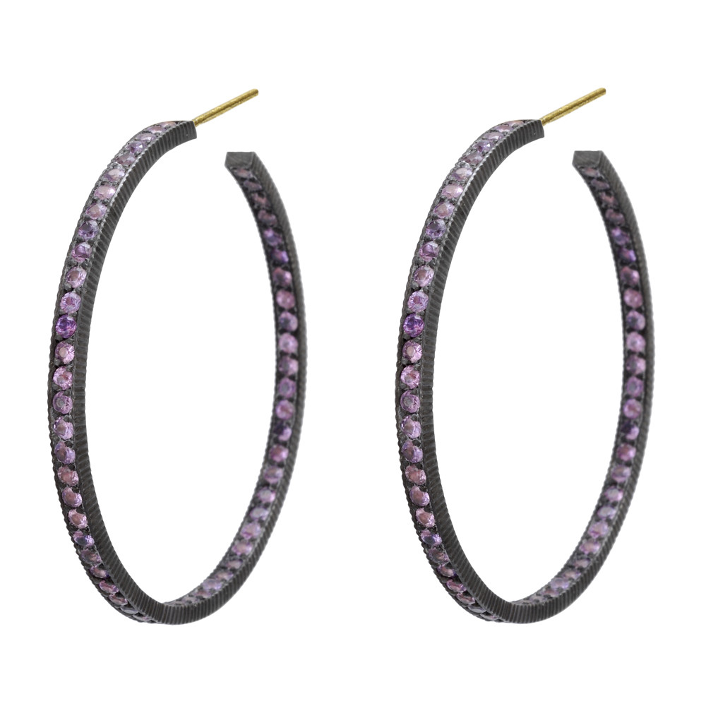 "Large ""Lilah"" Purple Sapphire Hoop Earrings"