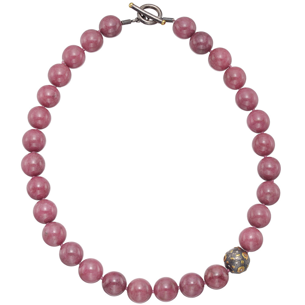 "Rhodonite Bead ""Libra"" Necklace"