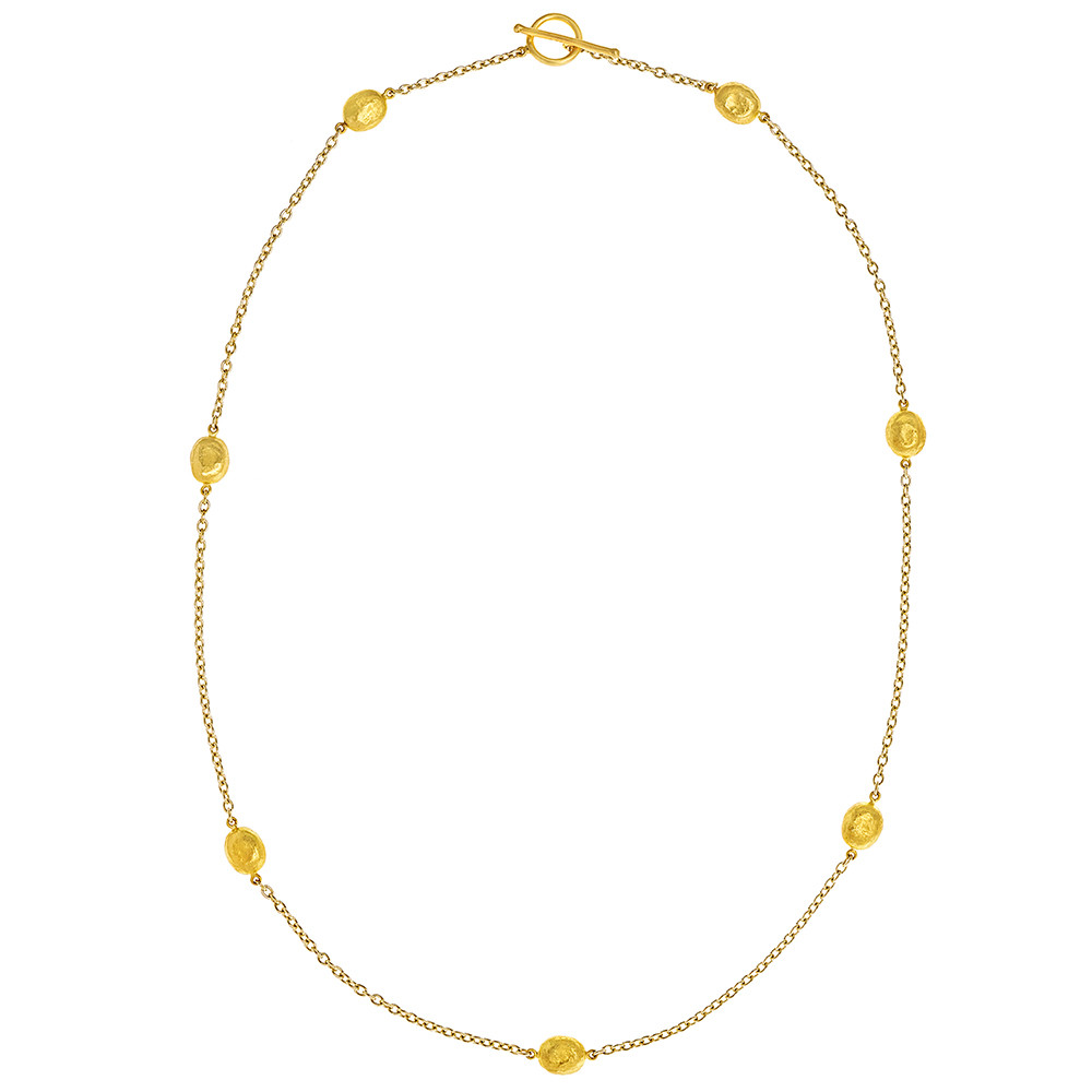 "18k Gold ""Roxanne"" Station Chain Necklace"