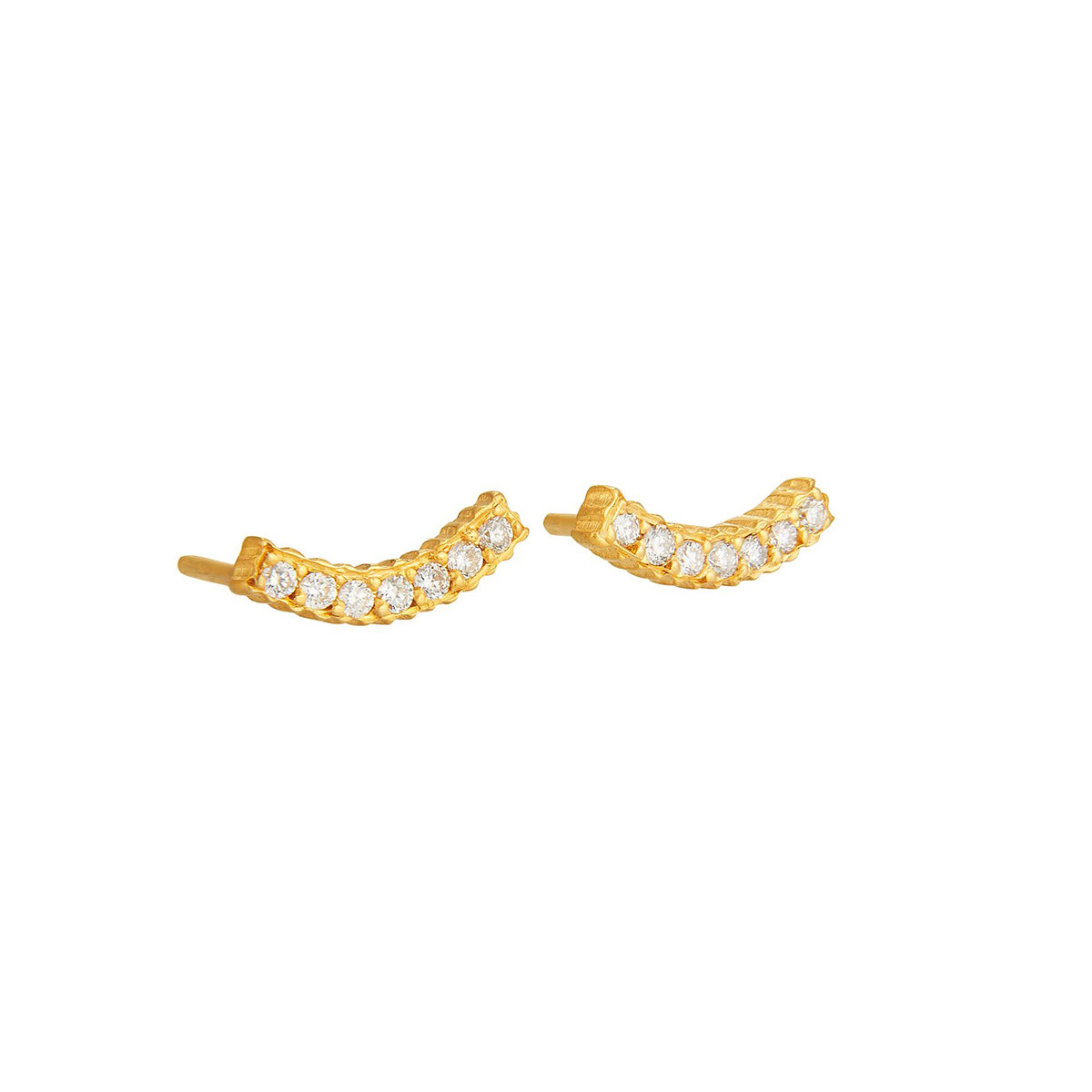 "18k Yellow Gold & Diamond ""Smile"" Stud Earrings"