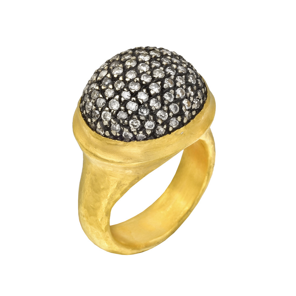 "24k Gold & Pavé Diamond ""Vera"" Ring"